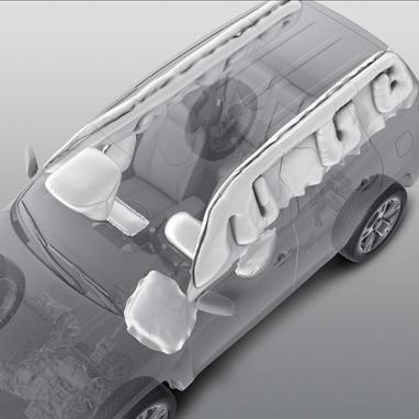 Airbags frontaux et latéraux avant, Airbags rideaux avant et arrière (jusqu'à la 3ème rangée sur version 7 places)