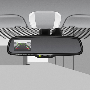 Electrochromatic mirror with built-in rear-view monitor