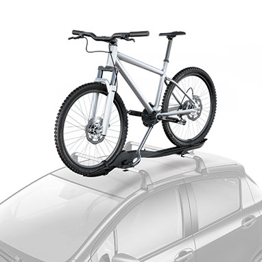 <p>The lockable lightweight aluminium design attaches to Toyota cross bars and has secure wheel and frame grips. Conveniently, the frame grip can be adjusted at roof height.</p>