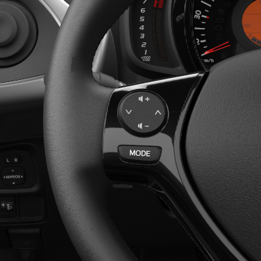 Audio control switches on steering wheel