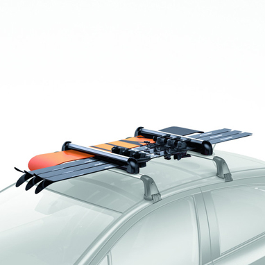 <p>The holder installs easily and lock securely onto your roof rack so you can quickly load skis and snowboards whenever the inspiration takes you. <br /><br />Large size holder <br />6 pairs of skis or 4 snowboards <br /><br />Features <br />*Skis secured between soft rubber for grip and to prevent damage.<br />*Locking system for maximum security. <br />*Push release for opening with gloved hands. <br />*Large holder slides to the car side for easy loading and unloading.</p>